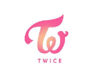 TWICE(トゥワイス)のロゴ、グループカラーのアプリコットとネオンマジェンダ