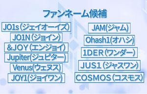 JO1, ファンネーム, JAM, 理由, 意味, 由来, 候補