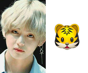BTSのメンバー、テテ(V、テヒョン)と絵文字のトラ