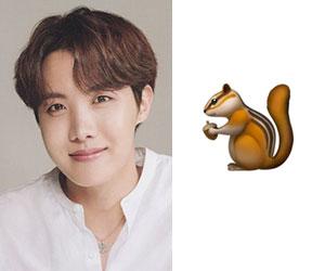 BTSメンバー、ホソクと動物絵文字のリス